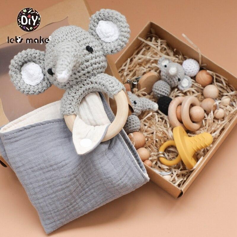 Crochet Baby pacifier dummy clip holder strap gray elephant knit ... | 800x800
