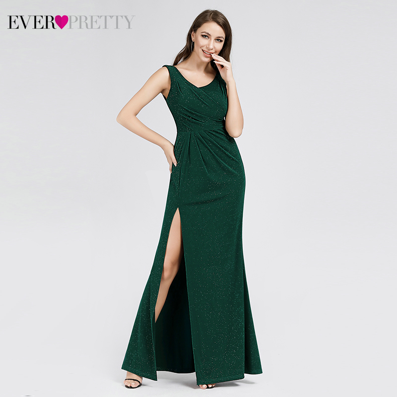 Sparkle Mermaid Evening Dresses For Women Ever Pretty EP07883DG V-Neck Side Split Sexy Dark Green Party Gowns Lange Jurken 2020