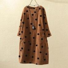 Женское свободное винтажное платье с принтом в горошек большого размера, Повседневное платье для девушек коричневого размера плюс, мини-платье в римском стиле, платья большого размера#1017x20