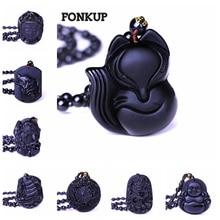 Fox Long Necklace Lariat Obsidian Pendant Women Sweater Chain Jewelry Power Gems