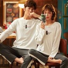 2021 primavera outono casal algodão manga comprida conjuntos de pijama para homens bonito dos desenhos animados pijamas terno feminino roupas de casa
