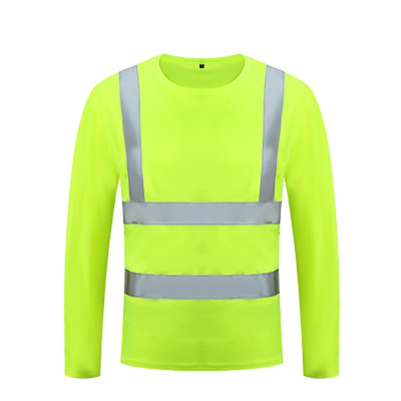 Safety T Shirt Reflective High Visibility Shirt Long Sleeve Yellow Lime Multi-sizes Breathable Road Construction Dumpcart Riding