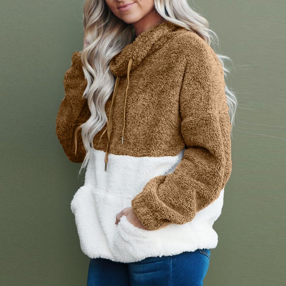 Winter Faux Fur Plush Turtleneck Sweater Women Thicken Warm Long Sleeve Pockets Pullover Sweater Female Jumper Women Lady Tops 2