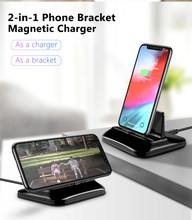 Magnetic Charger Holder Universal Ponsel Charge Berdiri Pemegang untuk iPhone 8 Plus X XR X Max 2 In 1 desktop Pengisian Bracker(China)