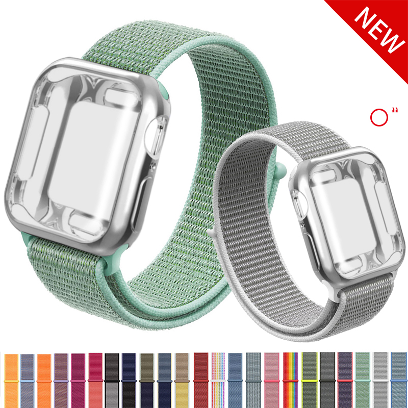 For Nylon Band+case Apple Watch Series 5 4 40mm 44mm Watchband Sport Bracelet For Iwatch Strap 3/2/1 42mm 38mm Accessories