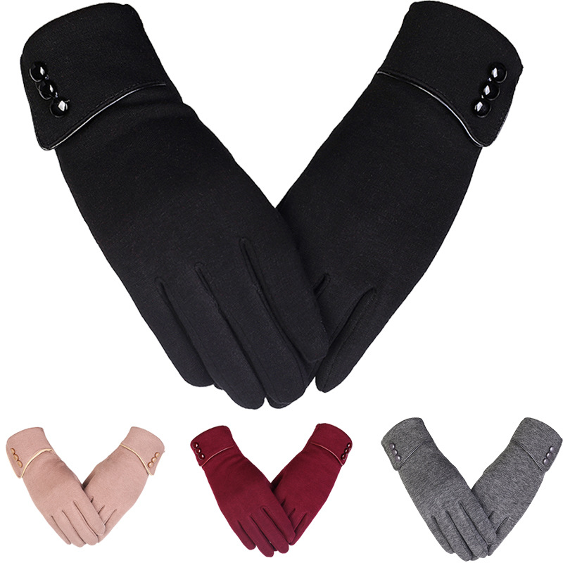 Winter Women's Non-flannel Gloves With Solid Color Buttons Adorn Bicycle Plush Touch Screen Warm Gloves