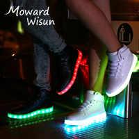 Taille 27-42 Charge USB Baskets lumineuses Baskets chaussures LED avec semelle lumineuse garçons filles brillant enfants Enfant LED pantoufles
