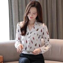 цена на Korean Fashion Chiffon Women Shirts Feather Pattern White Womens Tops and Blouses Plus Size XXL Blusas Femininas Elegante