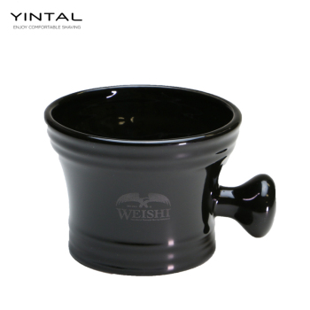 WEISHI High Quality Shaving Bowl Black Ceramic Mug Classical Soap Cup 1 pc