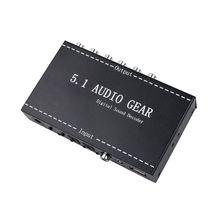 5.1 engrenagem de áudio 2 em 1 5.1 canais ac3/dts 3.5mm engrenagem de áudio digital surround som decodificador estéreo (l/r) sinais decodificador hd player