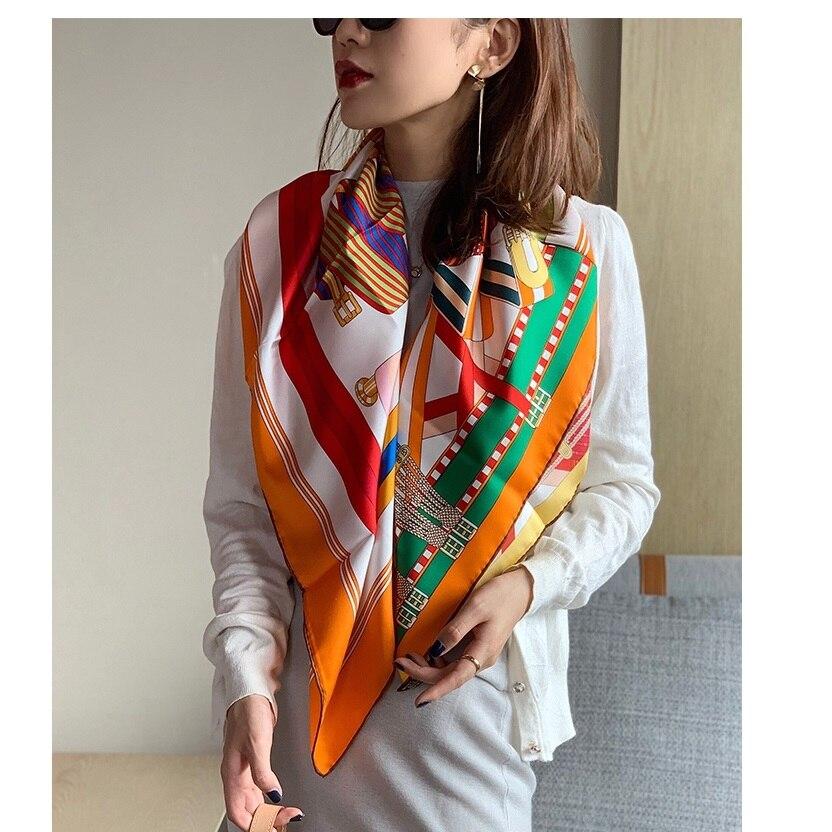 Fashion Belts Print 100% Silk Scarf Shawl Foulard 35