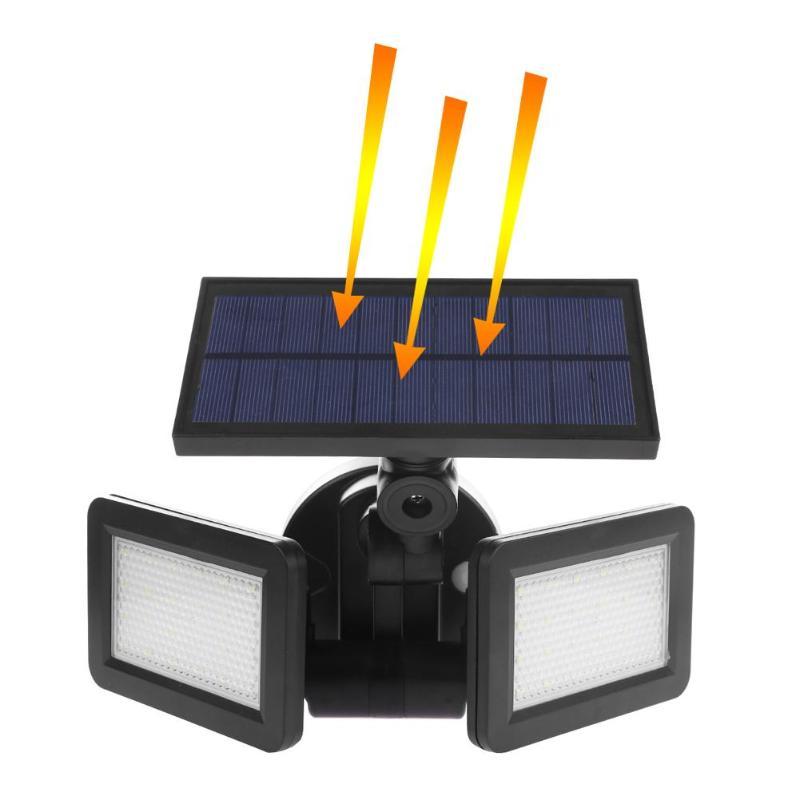 48LED Dual Head Solar Powered Wall Light Radar Sensor Spotlight Waterproof Outdoor Garden Street Path Energy Save LED Lamp