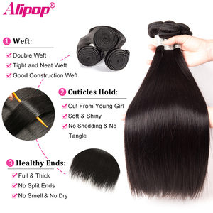 Image 2 - Straight Hair Bundles With Frontal Peruvian Human Hair Bundles with Closure Pre Plucked Remy Lace Frontal With Bundles ALIPOP