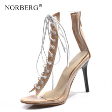 NORBERG New women high-heeled shoes transparent  fashion banquet leisure square-root Quality assurance