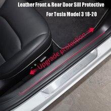 4PCS רכב עור קדמי אחורי דלת אדן מגן עבור טסלה דגם 3 2017 2020
