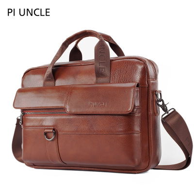 PIUNLE Men Briefcase Bag High Quality Business Famous Brand Leather Shoulder Messenger Bags Office Handbag