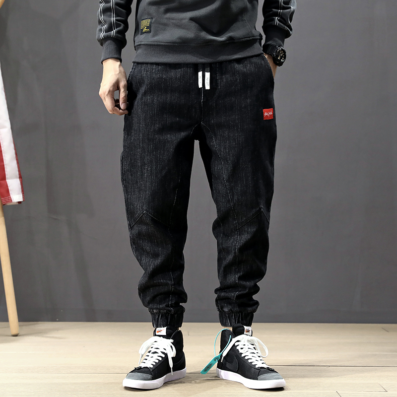 Japanese Style Fashion Men Jeans Loose Retro Black Harem Pants Elastic Waist Slack Bottom Streetwear Hip Hop Joggers Jeans Men