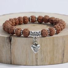 Oaiite original rudraksha coração mala chakra pulseira yoga cura oração chakra charme frisado strand pulseira atacado