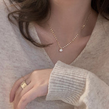 New Style 925 Sterling Silver Single Diamond Necklace Advanced Simple Shiny Zircon Pendant Feminine Clavicle Chain Party Jewelry