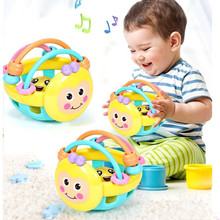 Baby Soft Rubber Rattle Children Early Childhood Biting Bell Toy Bee Hand Bell Rattle Dumbbell Baby Toy 0-12 Months