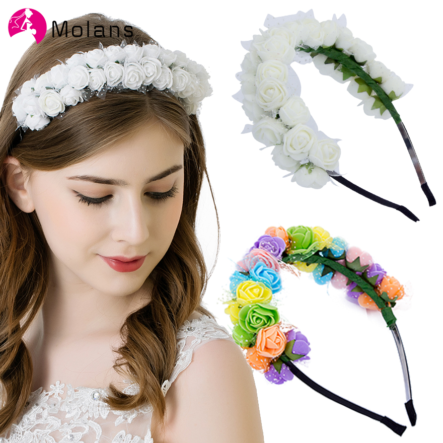 Molans Pastel Festival Flower Crowns Bridesmaids Hair Accessory Colourful Headbands Handmade Foam Floral Garlands Solid Wreaths