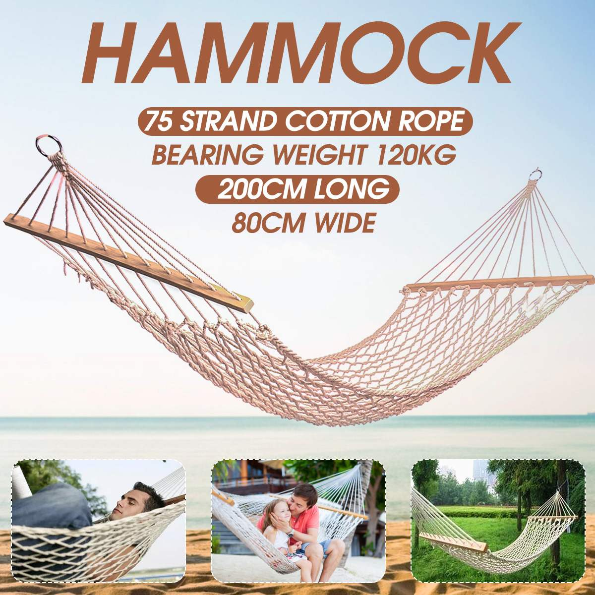 1-2 Person Portable Outdoor Hammock White Mesh Cotton Rope Swing Hammock For  Porch Beach  Indoor Patio Hammock For Bedroom