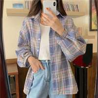 Camicie allentate classiche scozzesi in stile coreano camicetta donna quotidiano All-match carino studente abbigliamento donna 2020 nuovo