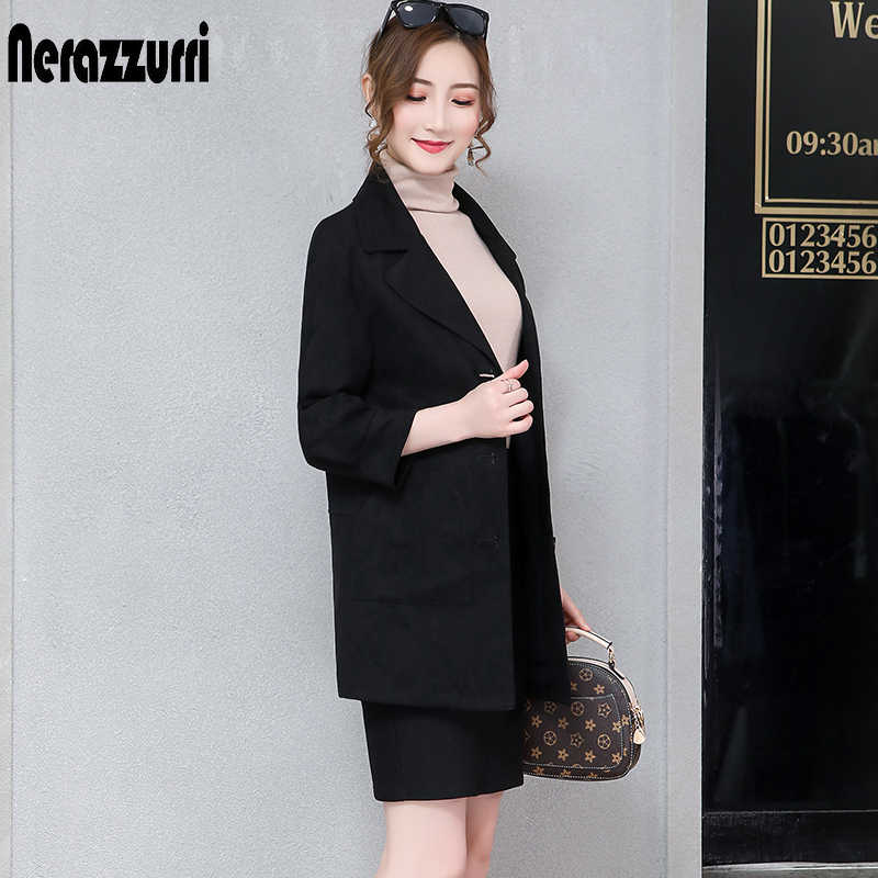 Nerazzurri Black blazer women 2019 drop shoulder autumn women blazers and jackets plus size faux leather suede jacket 5xl 6xl