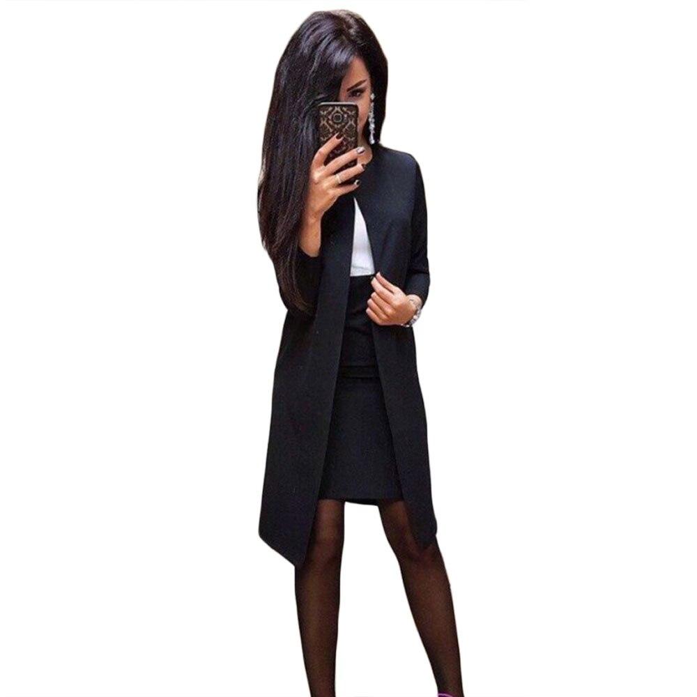 MVGIRLRU Office Lady Formal Dress Suits Business Wear Women Long Blazer Jacket+ Sheath Dress 2 Piece Set