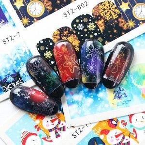 Image 3 - 30 pçs/set Natal Flocos De Neve de Inverno Estrela Prego Projeta Decalques de Água Da Arte Do Prego Adesivos Decorações Manicure Sliders TRSTZ779 808