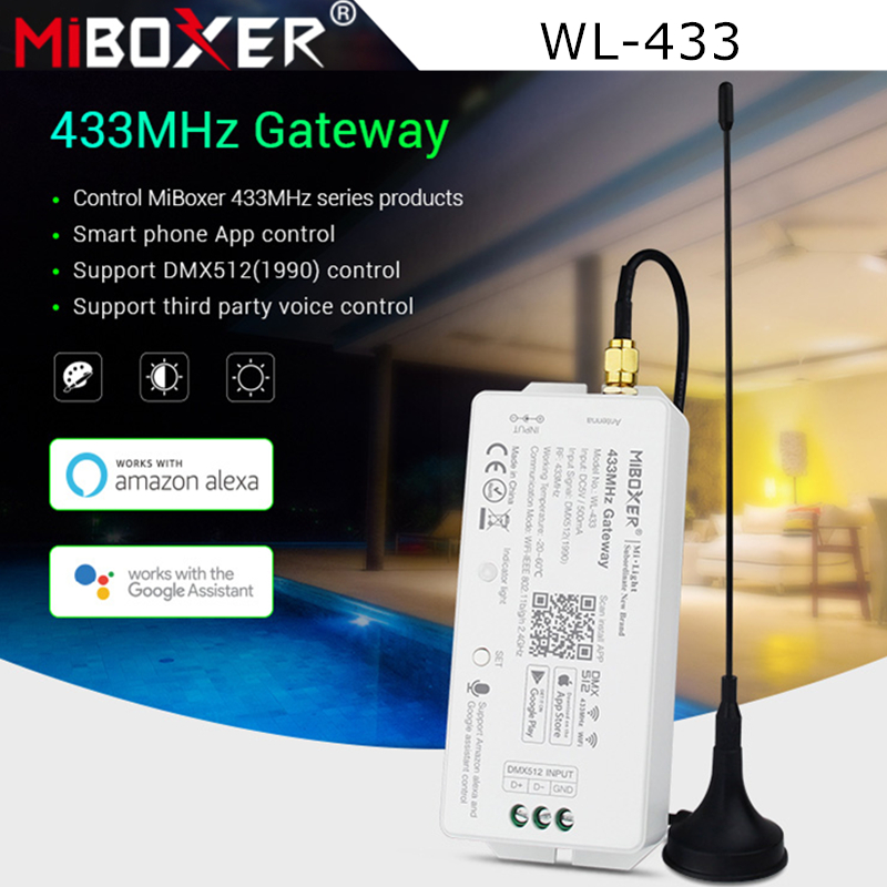 Miboxer WL-433 433MHz Gateway DC5V/<font><b>500mA</b></font> WiFi RF DMX512(1990) Smartphone APP Control for MiBOXER 433MHz Series Products Mi-Light image