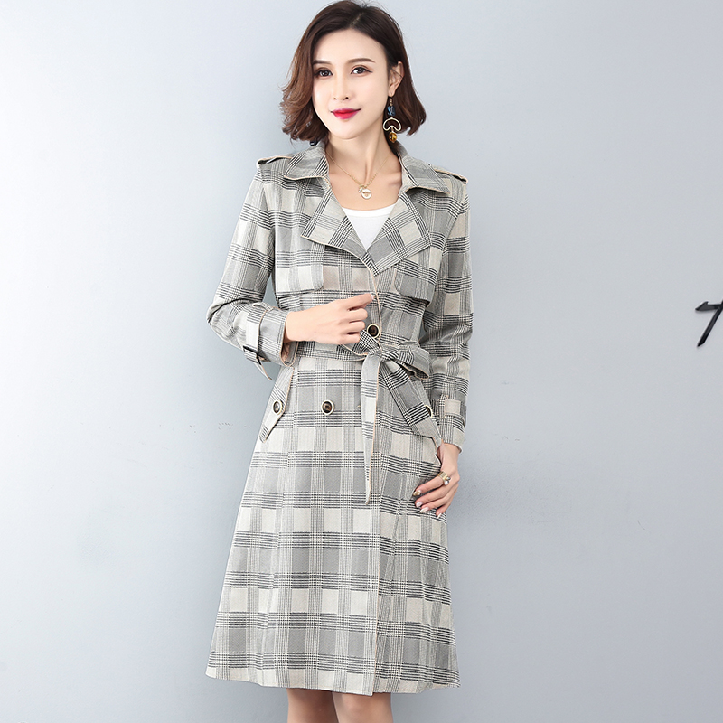 Spring Autumn New Women Long windbreaker Suede Casual Plaid   Trench   Coat Female Double-breasted Plus size Korean Fashion Overcoat