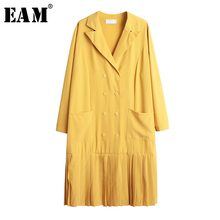 [EAM] Women Double Breasted Pocket Pleated Dress New Lapel Neck Long Sleeve Loose Fit Fashion Tide Spring Autumn 2019 1A564