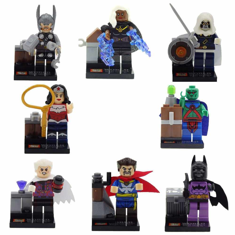 8pcs Legoinglys Super Heroes Batman Wonder Woman Thor Ororo Munroe Taskmaster Minifigure Bricks ของเล่นสำหรับของขวัญเด็ก