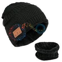 Beanie Wireless Bluetooth Earphone Hat Cap 2021 Keep Warm Winter Hat Music Headset 2 In 1 Scarf Set Headphone For Outdoor Sports