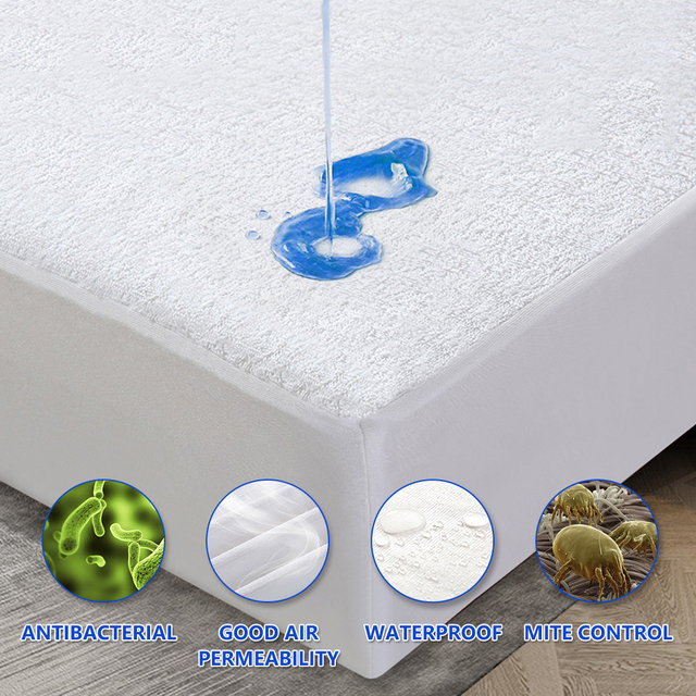 Soft Waterproof Bed Sheet Fitted Mattress Topper With Band Bed Single Double King Size Pad Coverd Pad Protector Cover Sheet