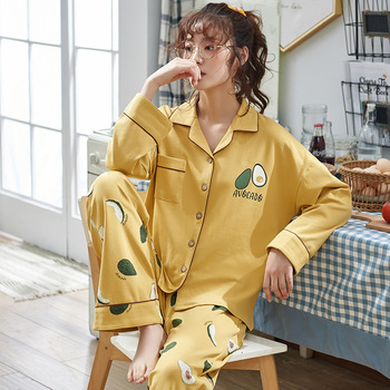 Spring And Autumn New Cotton Long-sleeved Ladies Pajamas Korean Version Wearable Wide leg pants Tracksuit Set NW23