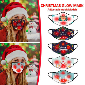 Fashionable LED Christmas Mask Dustproof Print Mouth Mask Cartoon Reusable Fabric Earloop Anti Pollution Mask Party mascarilla image