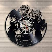 Circular hollow out game 3 d vinyl wall clock vinyl handmade classical artistic wall clock room adornment personality