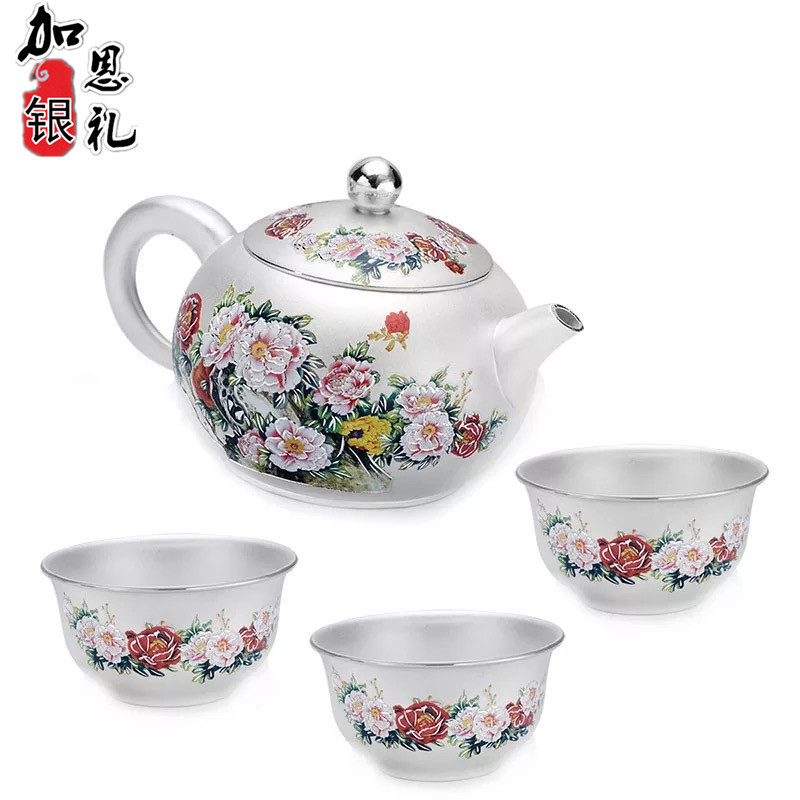 Teapot, Kettle, Hot Water Teapot, Handmade Sterling Silver Cloisonne Tea Set, Gift Collection, Kung Fu Tea Set