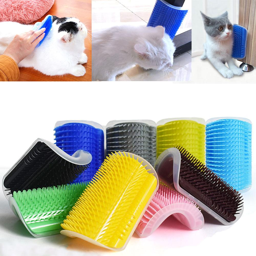 Cat Massage Comb Kitten Self Grooming Scratcher Wall Corner Brush Cats Scratch Bristles Arch Toy Pet Plastic Hair Removal Tool