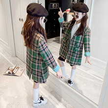 Kids Jackets for Girls Green Plaid Coat Autumn Long Sleeve Outerwear Children Jackets Fashion Teen Jacket Outfits 8 10 12 Years