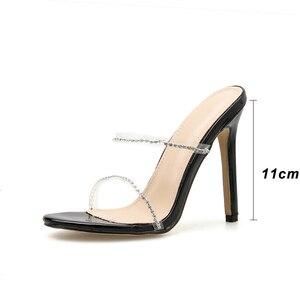 Image 2 - Kcenid 2020 새로운 패션 pvc 크리스탈 검투사 여성 슬리퍼 하이힐 라인 석 스트랩 여성 신발 섹시한 나이트 클럽 파티 신발