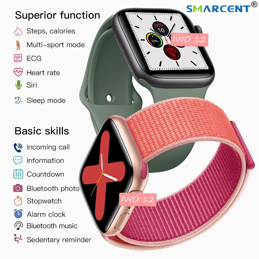IWO <font><b>12</b></font> <font><b>Smart</b></font> <font><b>Watch</b></font> Series 5 IP68 Waterproof GPS Bluetooth ECG Heart Rate Sleep Monitor Music Control for Apple <font><b>Watch</b></font> IOS Android image
