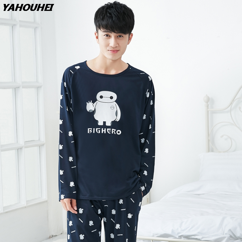 High Quality Casual Cotton Pajamas Sets For Men 2018 Autumn Winter Long Sleeve Pyjama Male Homewear Loungewear Mens Home Clothes