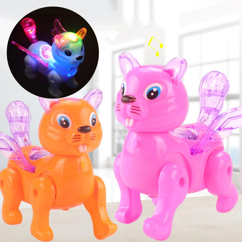 Funny Dog Squirrel Animal Musical Lighting With Leash Walking Doll Kids Educational Toys Gifts  Help Your Child Develop Brain