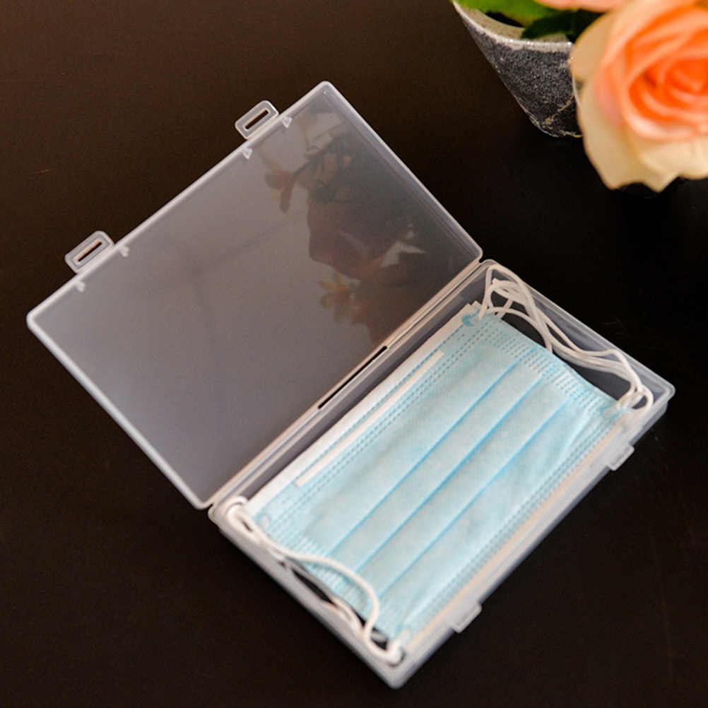Maske saklama kutusu plastik organizatör taşınabilir saklama kutusu tek kullanımlık maske tutucu şeffaf konteyner depolama organizatör