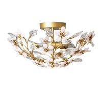 Estilo europeu quarto luzes de teto cristal ouro plafond lâmpada ac110v 220v lustre led iluminação do corredor