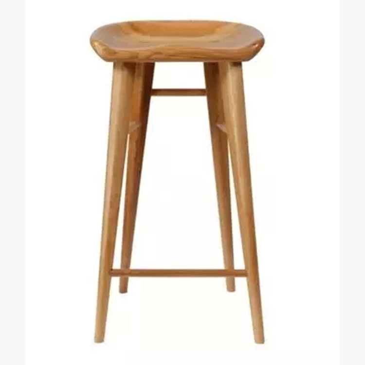 Nordic Solid Wood Bar Chair, High Foot Stool, Simple And Fashionable Dining Chair, Domestic Log Bar Stool, Leisure Bar Chair