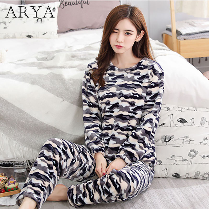 Arya Flannel Women Pajamas Sets Winter Pajamas Cute Cartoon Thick Warm Women Sleepwear Cute Female Coral Velvet Homewear 25